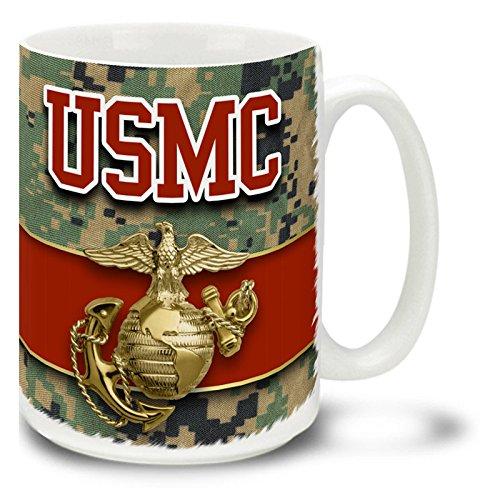 USMC Eagle Globe and Anchor on MCU Camo United States Marine Corps - CUSTOMIZABLE 15 oz Large Ceramic Coffee Mug VIVID (Camo Marine Globe)