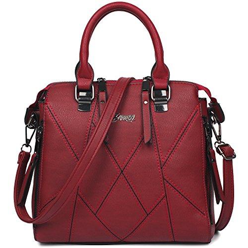 ZMQN Women Shoulder Bags PU Leather Top Handle Luxury Handbags for Ladies Purse Spliced Zipper Bags Famous Brand E801 (Red)