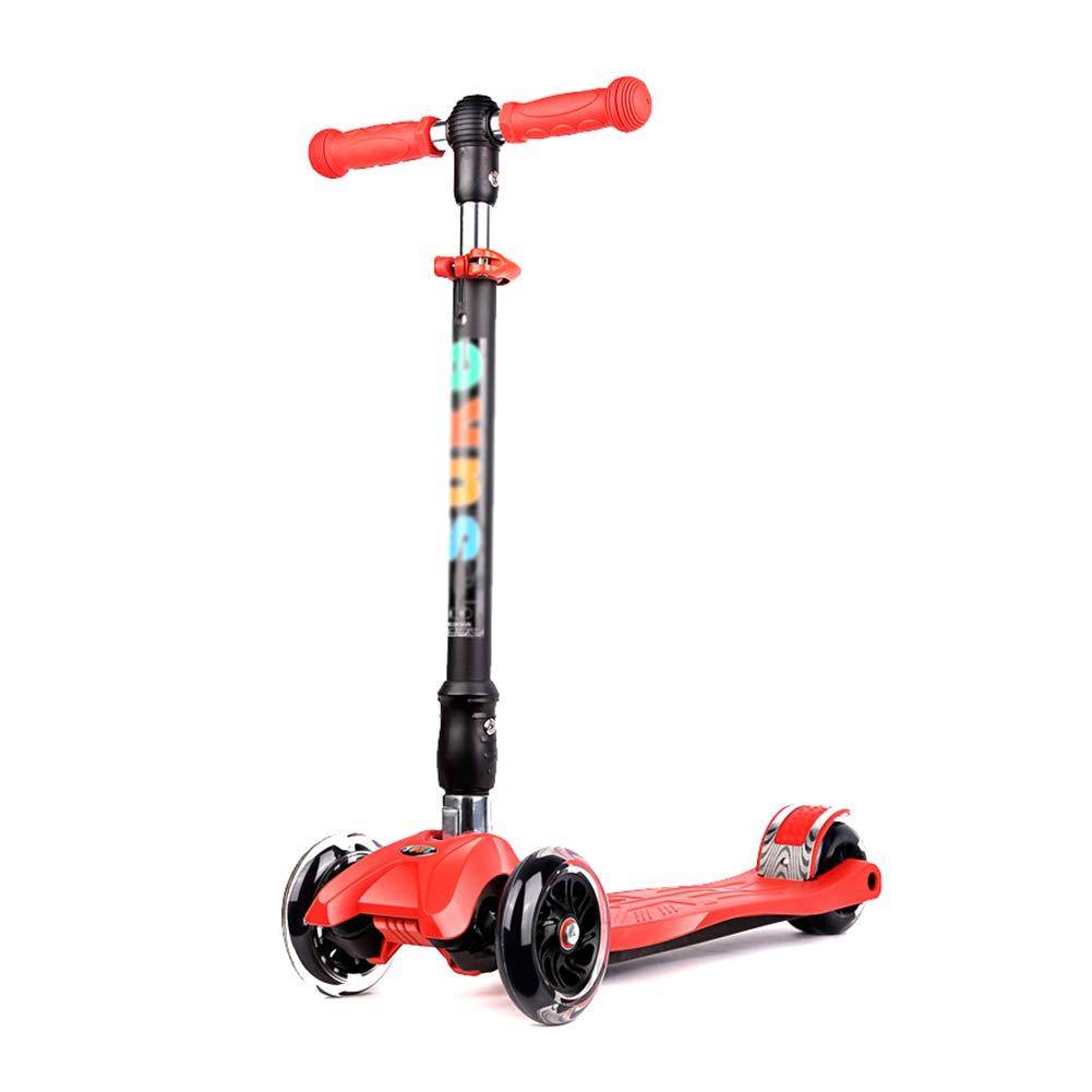 YXX- スクーター キック、調節可能な高さ、滑り止めペダル、折りたたみ式デザイン、収納が簡単な子供用フラッシュスクーター (色 : Green, サイズ さいず : 4 Wheels) B07MBXJBZF 3 Wheels Red Red 3 Wheels