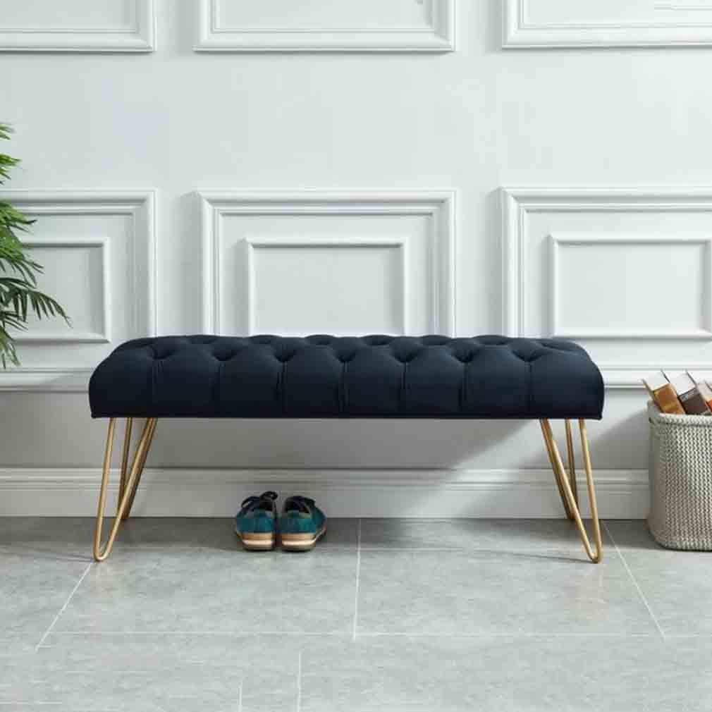 ECSD Moderne Einfachheit Schlafzimmer Bett Ende Hocker Mit Metallfüßen Freizeithocker Entryway Schuh Bench Sofa Hocker Ottoman Fußbank (Color : Black, Size : 100cm)