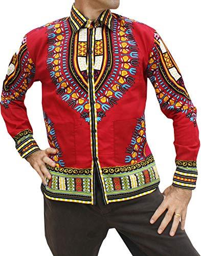 RaanPahMuang Yucatan Guayabera Three Pocket Shirt Africa Dashiki Festival Art, Medium, Maroon Red