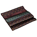 Brown Green Squares Printed Double Layer Long Silk Scarf
