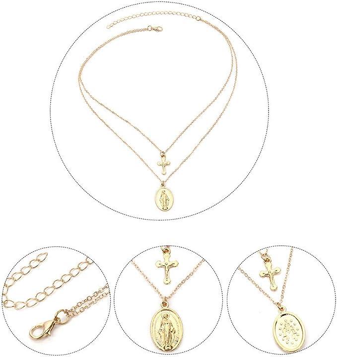 Ogquaton Collier /à deux /étages avec pendentif Mary en or Nouveaut/é