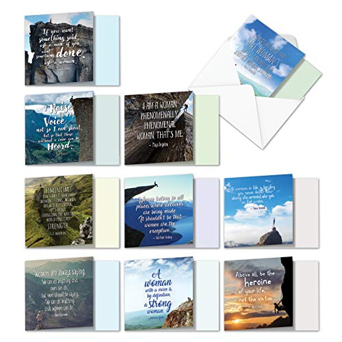 10 Pack of Women Power All-Occasion Assortment - Inspirational Blank Note Cards with Envelopes (4.8 x 6.6 Inch) - Beautiful Bulk Boxed Scenery and Landscape Notecards - Woman Quotes ACQ4625OCB-B1x10