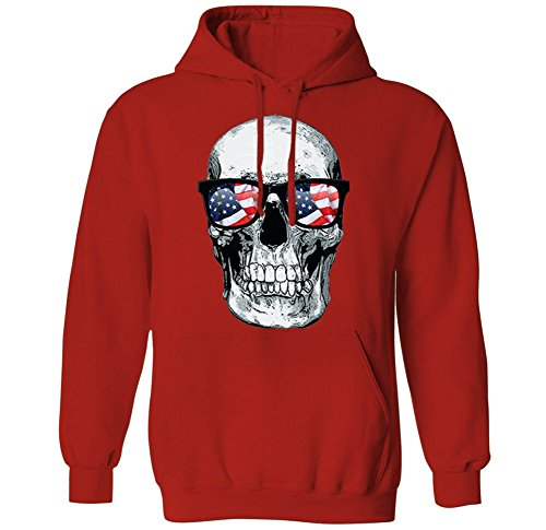 Skull With American Flag Sun Glasses - USA Shades Mens Hoodie Sweatshirt (Red, Large)