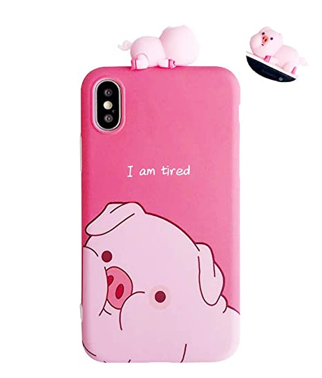 UnnFiko Piglet Phone Case Compatible with iPhone 6 Plus/iPhone 6s Plus, Cute 3D Cartoon Animal Soft Silicone Protective Case for Girls Women (Tired ...