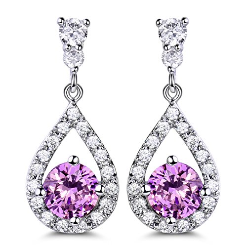GULICX Girl Friend Pink Earrings Silver Tone Party Jewellery Round Crystal Cubic Zirconia Drop Earing