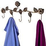 Rustic Bronze Garden Floral Pattern Wall Mounted 5 Coat Hook / Clothing Rack / Key Holder / Hat Hanger