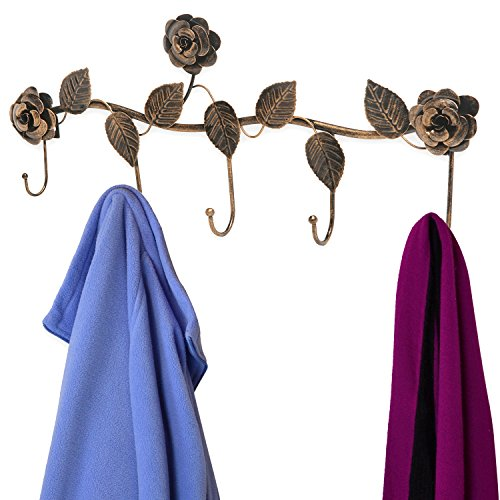 Rustic Bronze Garden Floral Pattern Wall Mounted 5 Coat Hook / Clothing Rack / Key Holder / Hat Hanger by MyGift