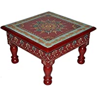 Ethnic Handpained Work Design Indian Wooden Decorative Stool End Table 9 X 9 X 5.5 Inches