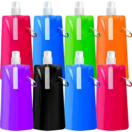 Quacoww 8 Pieces Collapsible Water Bottle Portable Outdoor Sports Water Bag Mountaineering Soft Water Bag]()