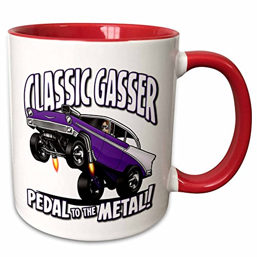 3dRose Mark Grace CARS AND WILD RODS - 1956 chev gasser - 56 gasser image in a wheelie, classic gasser text, pedal to the metal - 15oz Two-Tone Red Mug (mug_173480_10)