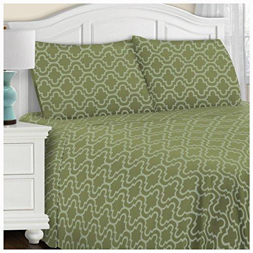 Superior Extra Soft Printed All Season 100% Brushed Cotton Flannel Trellis Bedding Pillowcase Set - Sage Trellis, King Size ()