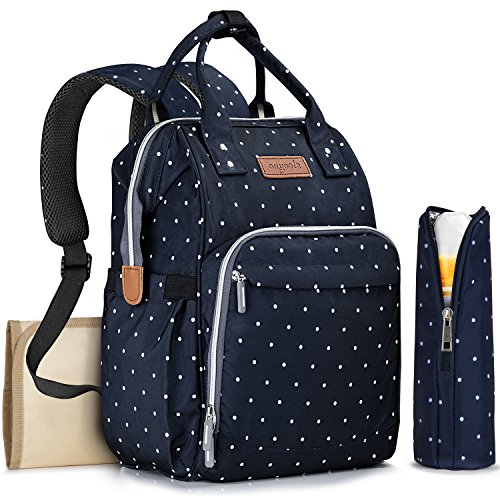 (Diaper Bag Backpack with Changing Pad and Bottle Bag, OUYOOLE Waterproof Baby Travel Backpack Nappy Bags for Girls Boys Women or Men, Blue with White Dots)