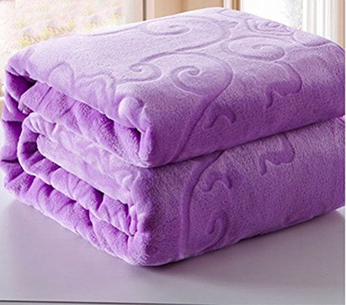 Jacquard Floral Flannel Bed Blanket Extra Soft Warm Plush Easy Care Thicken Fluffy Bedding Blankets for Seniors Sleeping Bedroom Bed Room