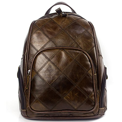 Crazy Horse Genuine Leather Stitching Plaid Backpack Multi Pockets Travel bag by VM FASHION KISS
