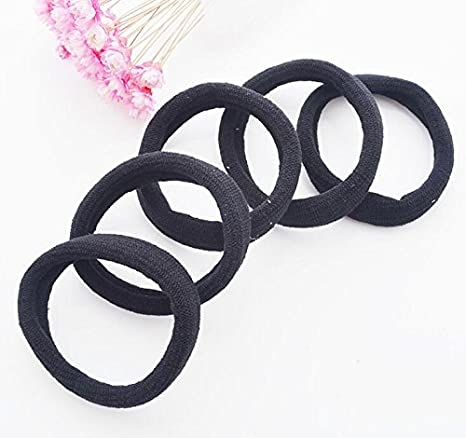 Black Thick Seamless High Elastic Cotton stretch Hair Ties Bands Rope  Ponytail Holders Headband Scrunchie Hair ba6880896db