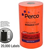 Flou. Red Pricing Labels for Monarch 1131 Pricing Gun – 1 Sleeve, 20,000 Price Gun Labels – with Bonus Ink Roll