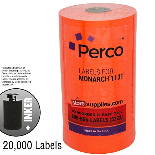 Fluorescent Red Pricing Labels for Monarch 1131 Price Gun – 8 Rolls, 20,000 Pricemarking Labels – With Bonus Ink (Price Marking Gun)