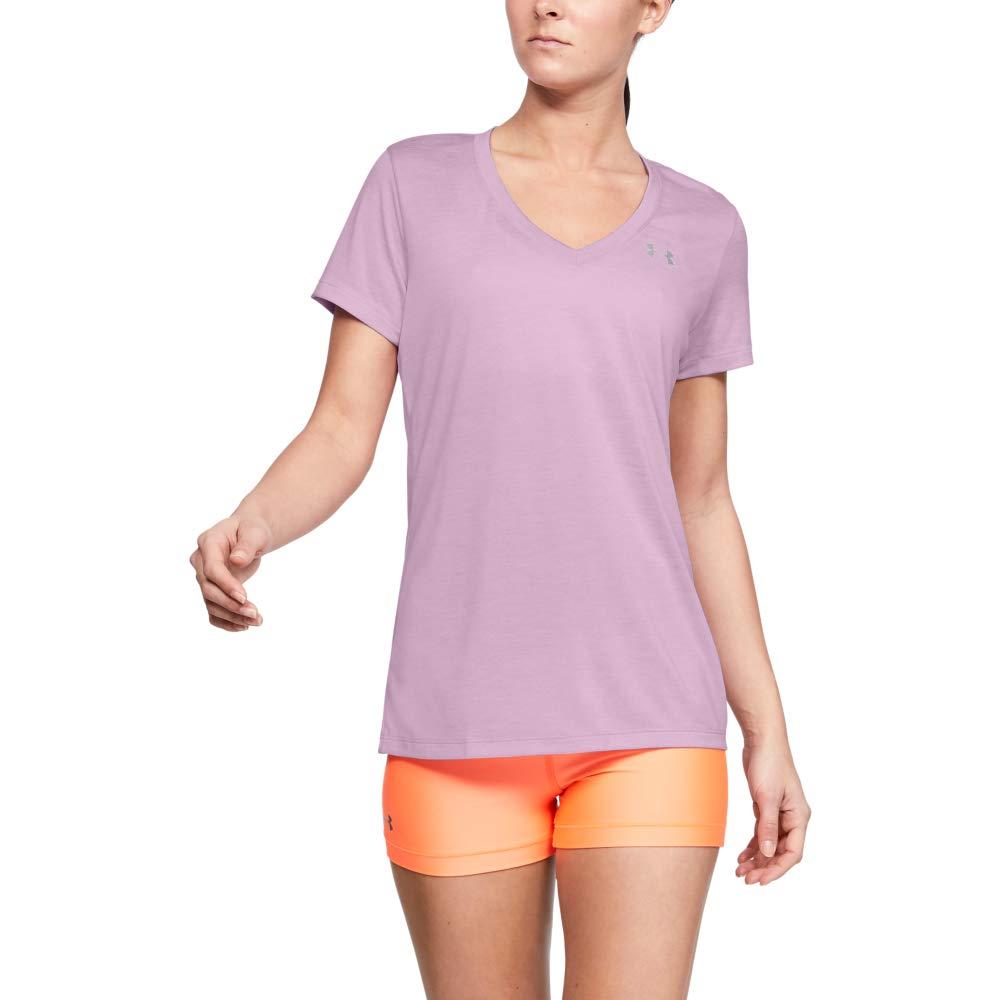 Under Armour Women's Tech V-Neck Twist Short Sleeve T-Shirt, Pink Fog (694)/Metallic Silver, Large by Under Armour