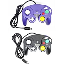 Bowink Ngc Classic Wired Shock Joypad Game Stick Pad Controller for Wii Gamecube NGC Gc Black (Black and Purple)