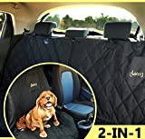[SPECIAL OFFER] 2-in-1 Pet Car Seat Cover For Back Or Front Seat-Perfect for Summer Trips With Your Dog | 2 Piece Zipper | Black, Waterproof, Non-Slip, Hammock Or Bench Seat Pad + Free Cleaning Roller