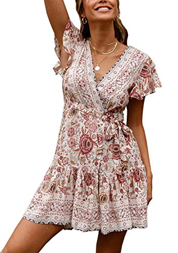 PRETTYGARDEN Women's Summer Deep V Neck Leaf Printed Ruffle Hem Split Wrap A Line Mini Dresses with Belt (125 White, X-Large)
