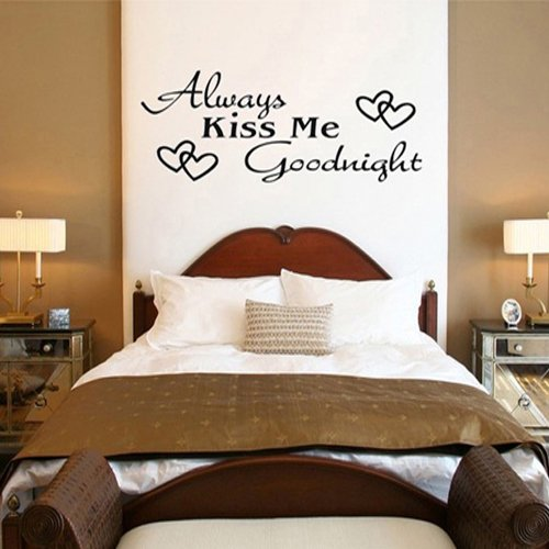 ColorfulHall Wall Decals Murals Stickers Saying Quote Always Kiss Me Goodnight Vinyl Wall Lettering Words Sticky Art Home Decor Quotes Decals Home Decoration (Sticky Wall Art Word)