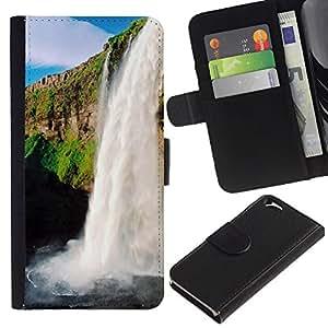 EJOY---La carpeta del tirón la caja de cuero de alta calidad de la PU Caso protector / Apple Iphone 6 / --Cascada Sol