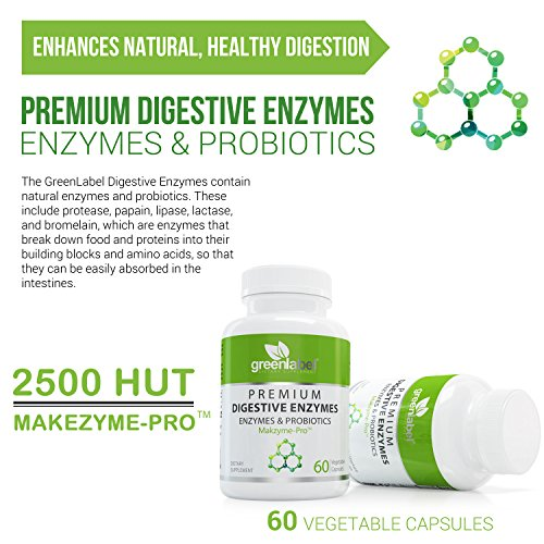 Digestive Enzymes Supplement Plus Probiotics & Prebiotics [120 Capsules], Natural Support for Better Digestion and Lactose Absorption, Helps Constipation & Gas Relief, IBS, Leaky Gut, Diarrhea, Reflux by Green Label Dietary Supplement (Image #5)