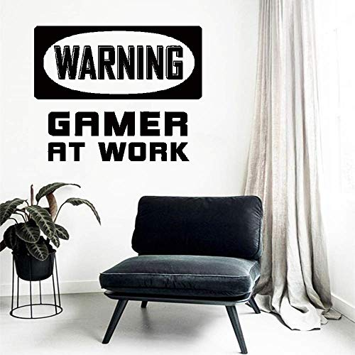 Aspxi Wall Decal Sticker Mural Vinyl Arts and Sayings Mural Art Warning Game at Work Gamer Room Idea Video Game Gaming Mural