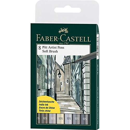 Faber Castell Pitt Artist Brush (Faber-Castell Pitt Artist Soft Brush Pen, Set of 8, Shades of Grey (FC167808))