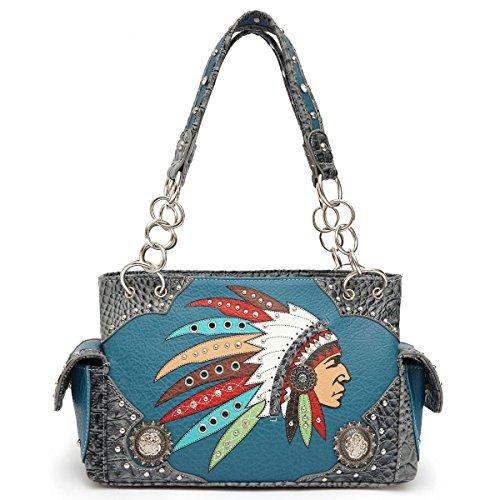 Native American Chief Profile Embroidered Handbag in Blue