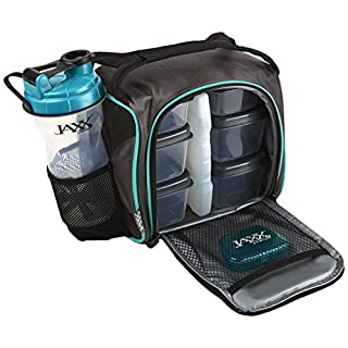 Fit and Fresh Original Jaxx FitPak Insulated Cooler Lunch Box, Meal Prep Bag with Portion Control Containers, Ice Pack, 28 oz Shaker, Standard, Teal