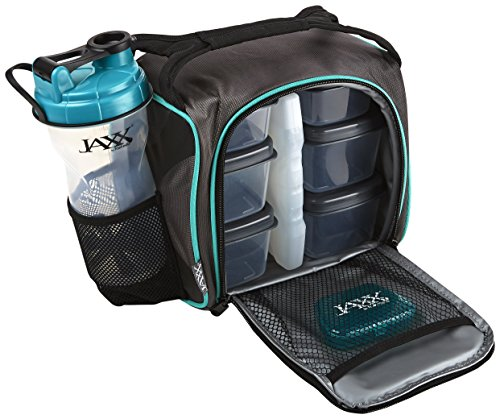 Fit and Fresh 944FFJXTEAL Original Jaxx FitPak Insulated Cooler Lunch Box, Meal Prep Bag with Portion Control Containers, Ice Pack, 28 oz Shaker, Standard, Teal (Best Food For Gym)