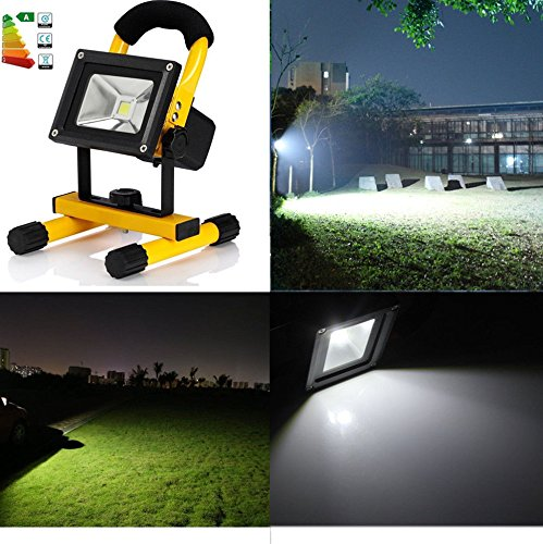 10W Portable Outdoor LED Floodlight Rechargeable IP65 Work Light Lamp for Contractors, Home & Farm, Job Site & Large Areas by earlybird-fly