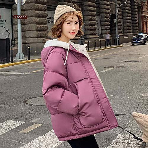 Veste matelassée de Couleur Unie pour Femmes, Court Paragraphe, Automne et Hiver, Veste en Duvet de Canard Chaud en Coton - Pink_L_China