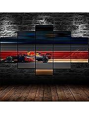 DUOYUN 5-panel combinatie schilderij, moderne woonkamer slaapkamer keuken eetkamer muur ontwerp decoratie-Formule 1 F1 Racing Sports-poster-Modulaire foto poster woondecoratie