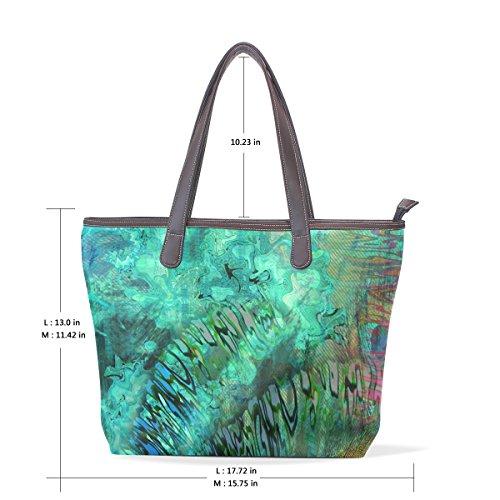 Coosun abstrakte blaue Welle Pfau Design große Tote PU Leder Griff Schultertasche Frauen Tote Bag