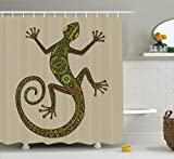 Reptile Decor Shower Curtain Set By Ambesonne, Ornamental Colorful Lizard With Ethnic Patterns Moving Around Exotic Creature Decor, Bathroom Accessories, 69W X 70L Inches, Green Ecru