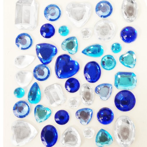 - Wrapables Acrylic Self Adhesive Crystal Gem Stickers, Blue, 2-Pack