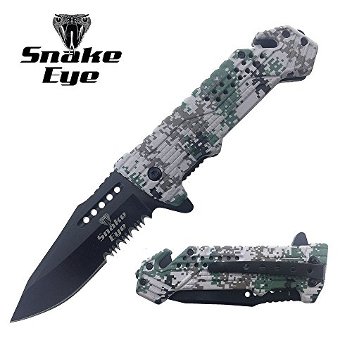 (Snake Eye Tactical Survival Camo Designed Action Assisted Folding Pocket Knife Desert Camo Camping Hunting Fishing Outdoors (Green Digital Camo))