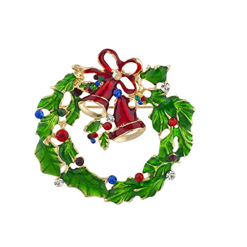 Lux Accessories Holiday Festive Christmas Xmas Wreath Bells Stone Brooch Pin