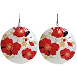 Floral Printed Capiz Shell Earrings, in Red with Silver Tone Finish