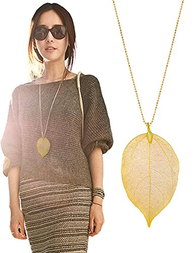 Jewelry Necklace Women Long Chain For Pendant Necklace Pure Natural Leaf Bohemian Boho Necklace Fashion Jewelry Gifts Valentine's Day Gifts Birthday Gifts for Wife Girlfriend Anniversary Gifts for Her (Selling Brass Material)