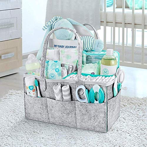 Newthinking Baby Diaper Caddy Organizer, Portable Large Diaper Caddy Tote with Changeable Compartments, Foldable Portable Car Travel Organizer for Changing Nappy, Newborn Shower Gift