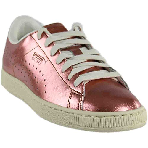 PUMA Women's Basket Classic Citi Metallic Sneaker - Copper-White (Large Image)