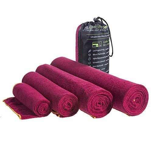LightDRY Mikrofaser Handtuch Reisehandtuch für Sport und Trekking, Extra saugfähig & antibakteriell, 80x40cm, Rot