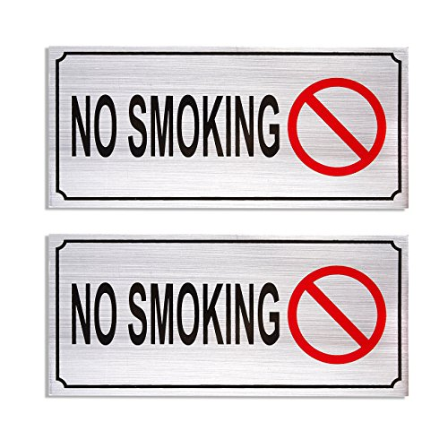 2-Pack of No Smoking Signs - No Smoking Self Adhesive Sign, Aluminum Signs for Business, Office Use, Silver - 7.87 x 3.6 inches from Juvale