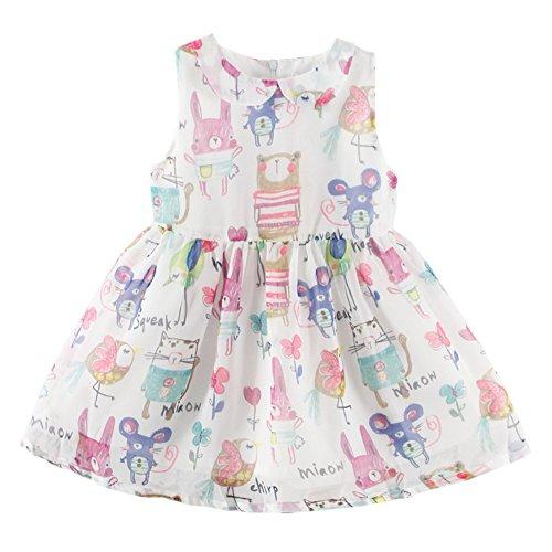 - LittleSpring Little Girls' Dress Animal Printing Size 7(tag140) White